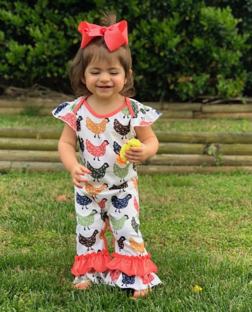 Melina & Me - Short-sleeve Farmhouse Chicken Romper (Front)