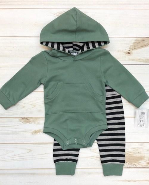Melina & Me - Sage & Stripes Outfit