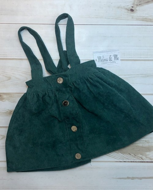 Melina & Me - Corduroy Suspender Skirt - Emerald