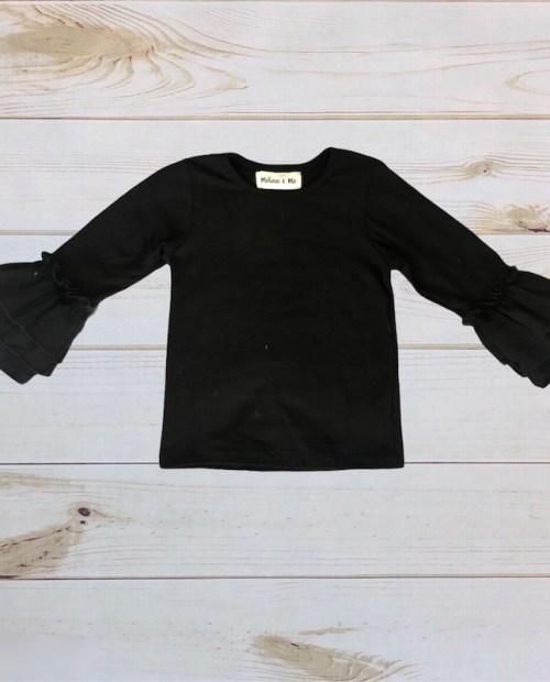 Melina & Me - Basic Ruffle Long Sleeve (Black)
