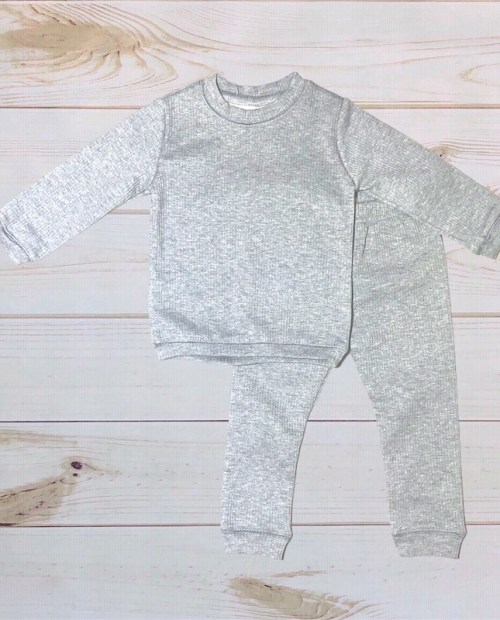Melina & Me - Gray Ribbed Sweatsuit