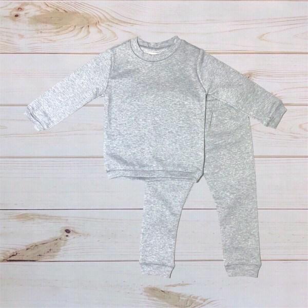 Gray Ribbed Sweatsuit