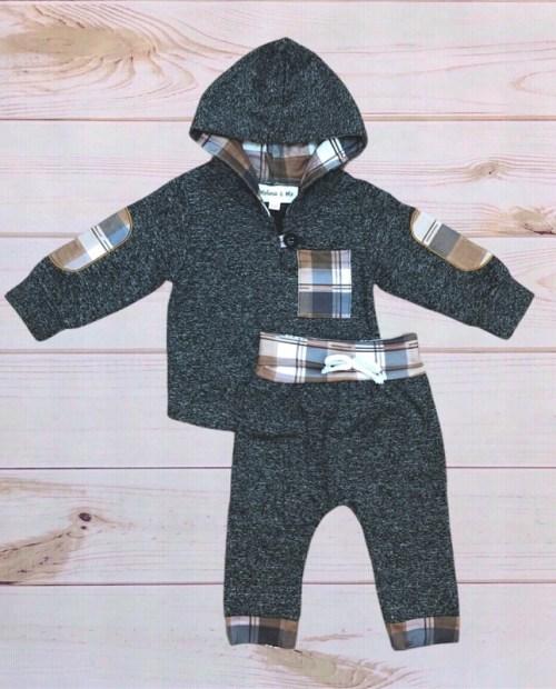 Melina & Me - Grey & Plaid Sweatsuit