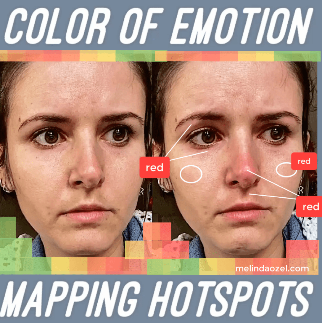 color of emotion - mapping hotspots - sadness - sadness blushing - blood flow