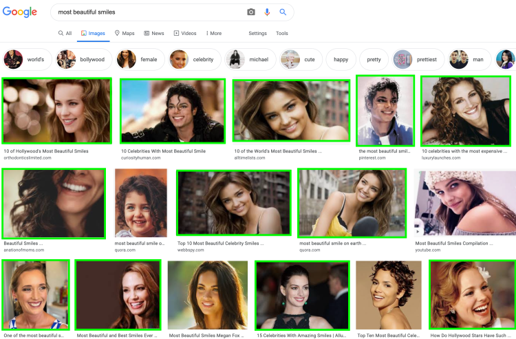 Google results for beautiful smiles