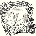 Free Kitten on blanket coloring page by Melinda Todd