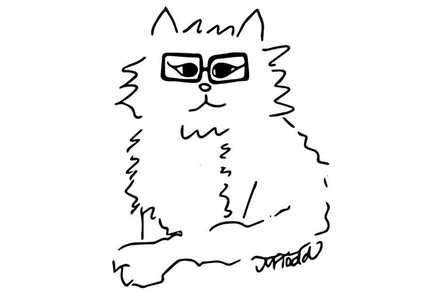 Hipster Cat Illustration