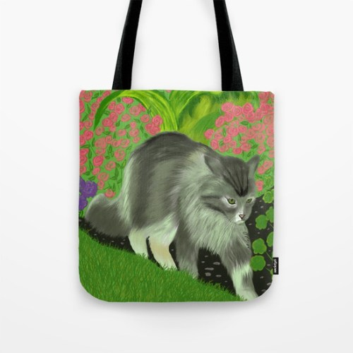 Cat In The Garden Tote Bag