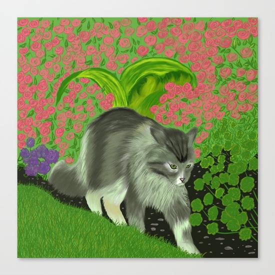 Cat In The Garden Canvas Print