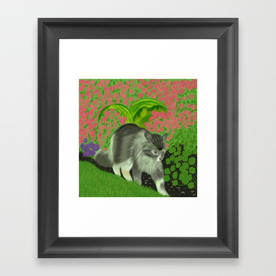 Cat In The Garden Framed Print