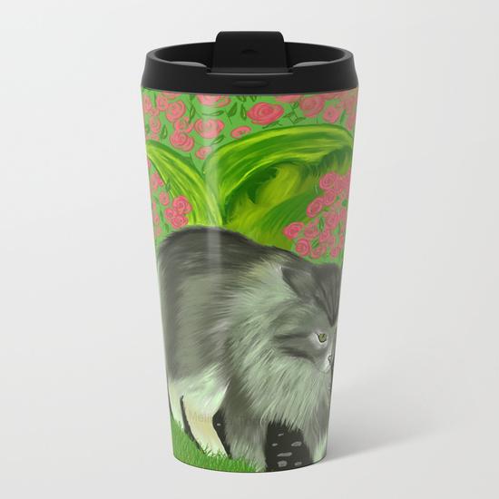Cat In The Garden Metal Travel Mug