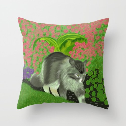 Cat In the Garden Throw Pillow by Melinda Todd