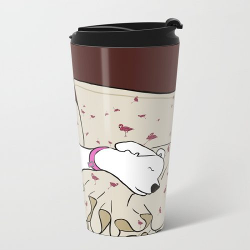 Dog In A Pile of Blankets Metal Travel Mug
