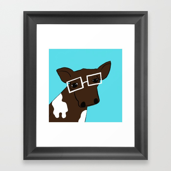 Hipster Cow Framed Print