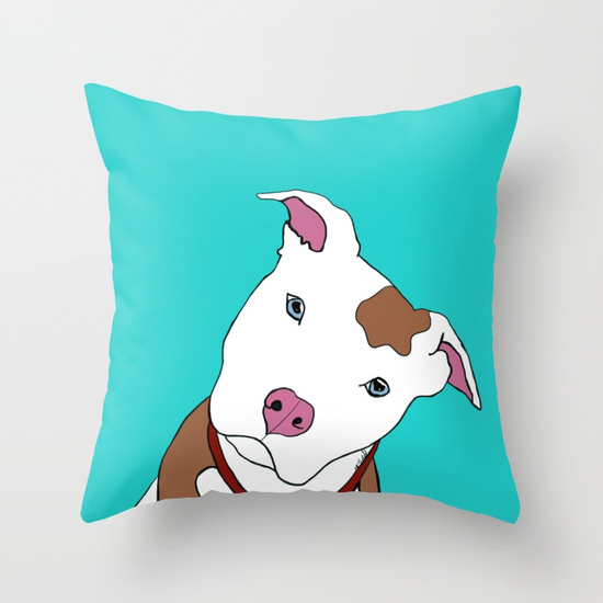 Pit Bull Throw Pillow by Melinda Todd
