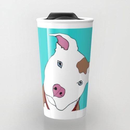 Pit Bull Travel Mug by Melinda Todd