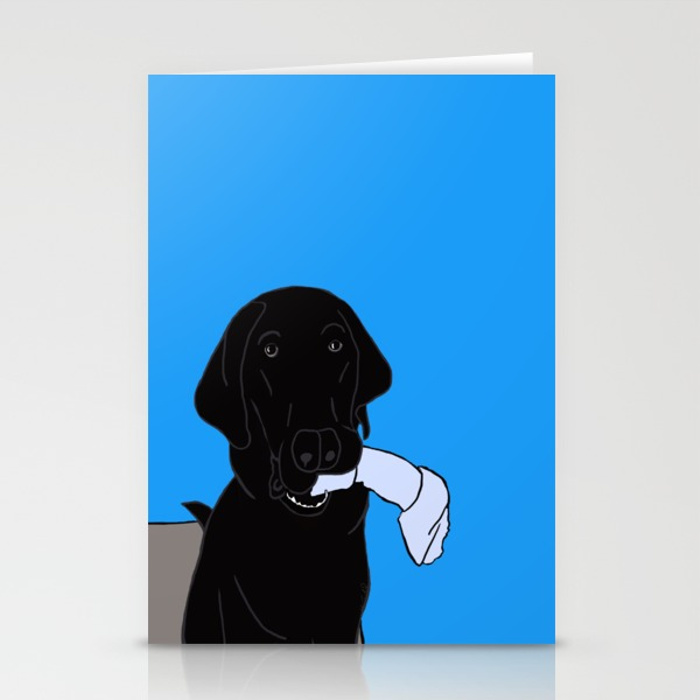 Black Lab With a Bone Cards