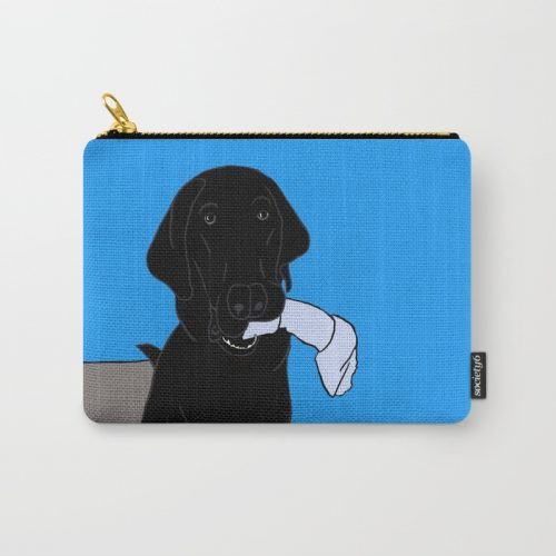 Black Lab With A Bone Carry All Pouch