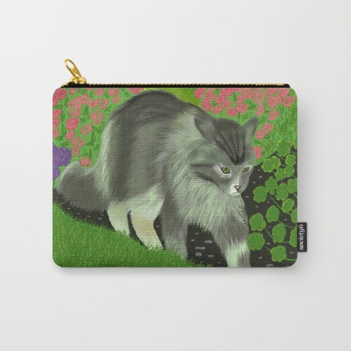 Cat in the garden carry all pouch