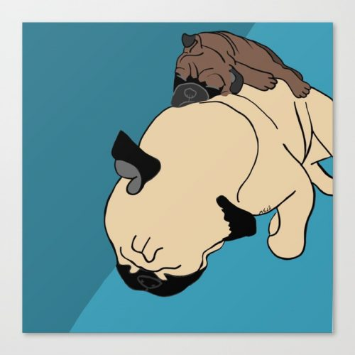 Pug and Puppy Nappy Canvas Print