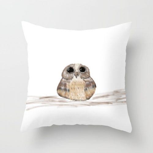 Sweet Owl Throw Pillow