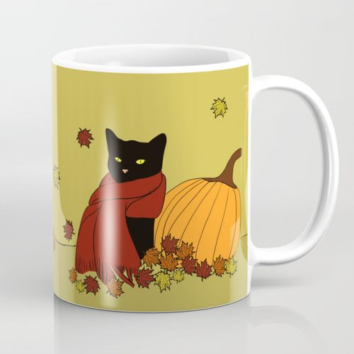 Cascade The Black Cat Welcomes Fall Coffee Mug