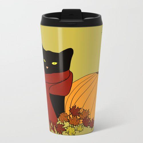 Cascade The Black Cat Welcomes Fall Travel Mug