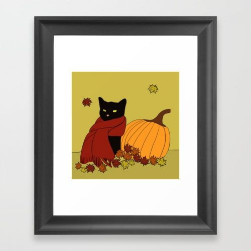 Cascade The Black Cat Welcomes Fall Framed Print by Melinda Todd