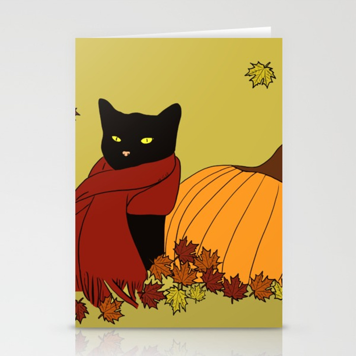 Cascade The Black Cat Welcomes Fall Greeting Cards
