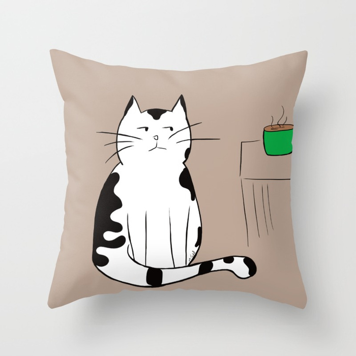 Java The Coffee Cat Throw Pillow