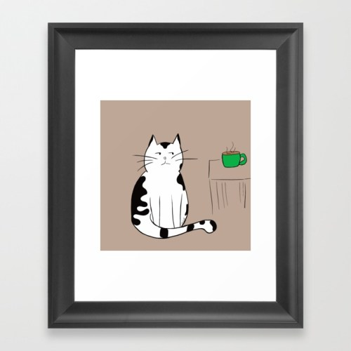 Java the Coffee Cat Framed Print by Melinda Todd