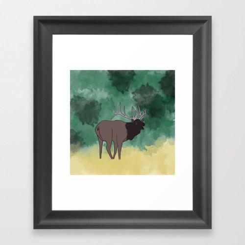Bull Elk Bugling Framed Print