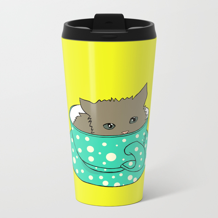 Kitten In A Teacup Travel Mug