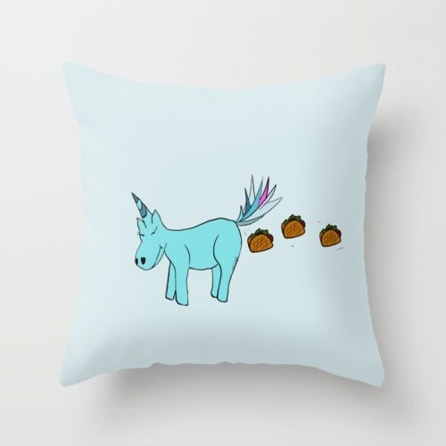 Unicorn Pooping Tacos Throw Pillow