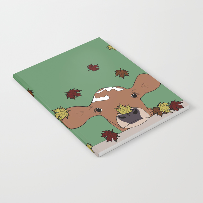 Bessie The Calf in Fall Leaves Notebook