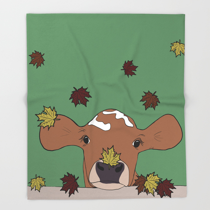 Bessie The Calf in Fall Leaves Throw Blanket