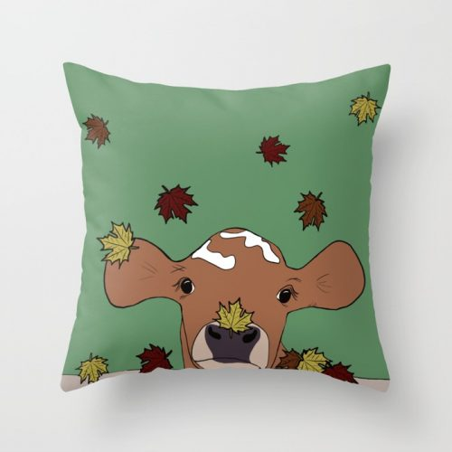 Bessie The Calf in Fall Leaves Throw Pillow