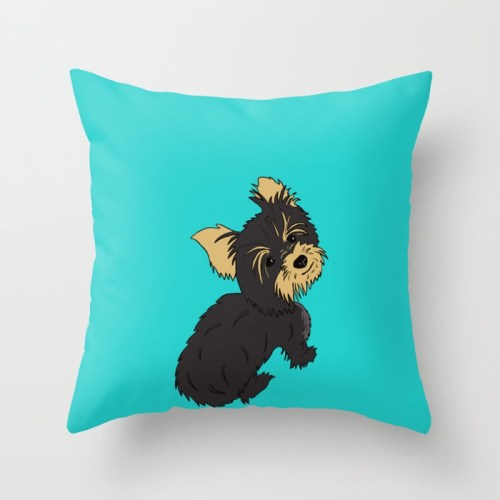 A Bossy Yorkie Throw Pillow