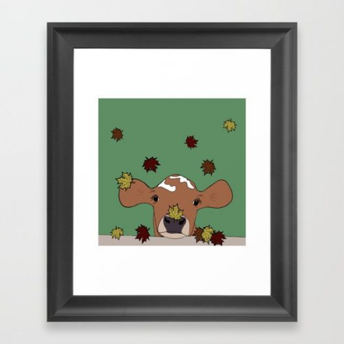 Bessie the Calf and Fall Leaves Framed Print by Melinda Todd
