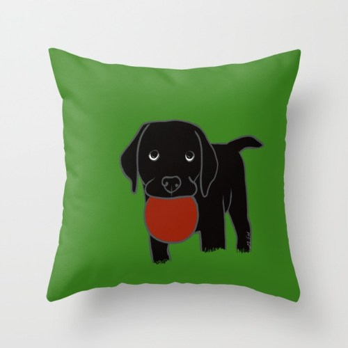 Black Lab Puppy with Red ball Throw Pillow