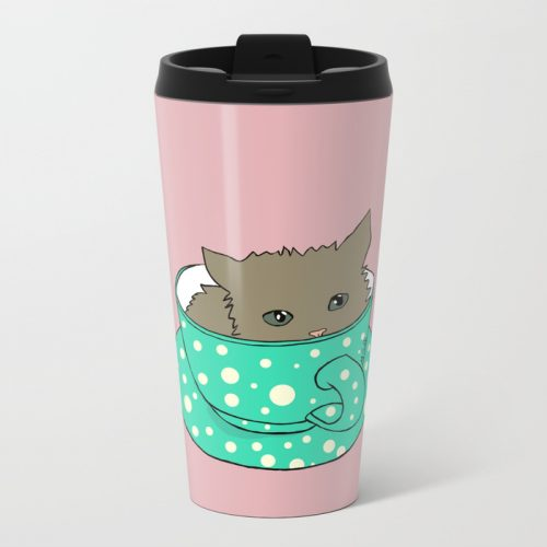 Fluffy Kitten In A Teacup Pink Background Travel Mug