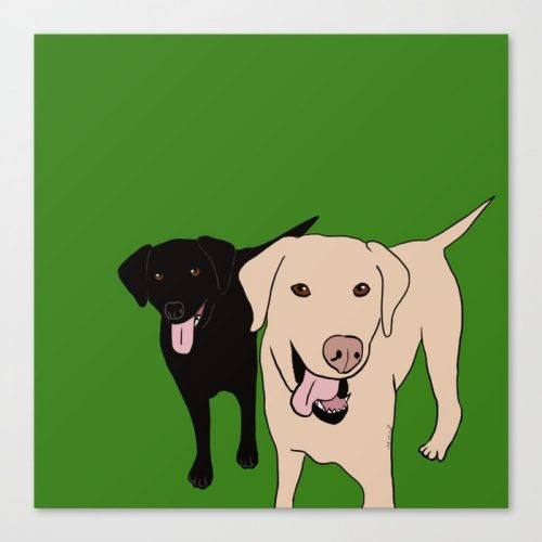 Tanner and Lily Labrador Buddies Canvas Print by Melinda Todd