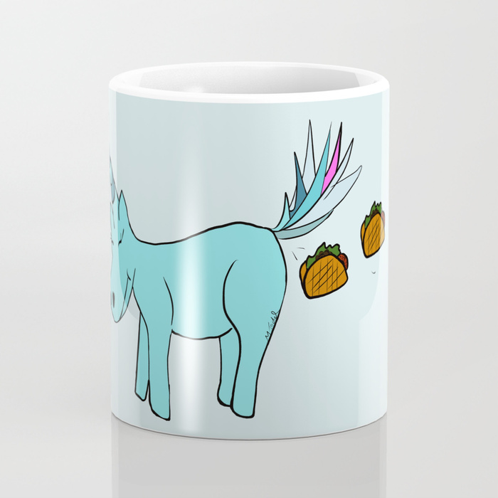Unicorn Pooping Tacos Coffee Mug by Melinda Todd