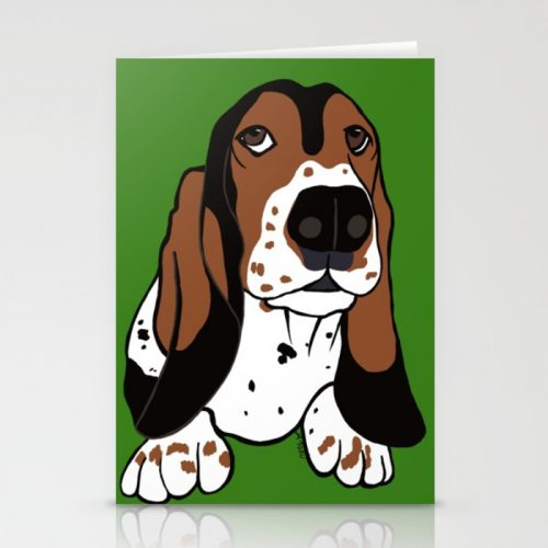 Basset Hound Greeting Cards by Mel's Doodle Designs
