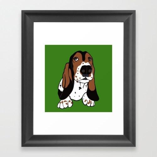 Basset Hound Framed Art Print by Mel's Doodle Designs