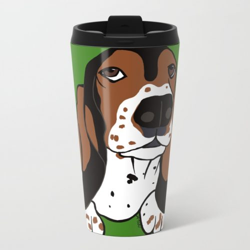 A Dog Mom and Her Basset Hound Travel Mug  by Mel's Doodle Designs