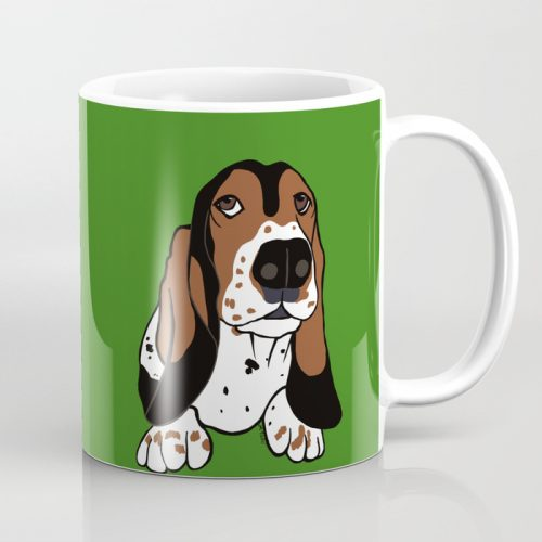 A Dog Mom and Her Basset Hound Coffee Mug  by Mel's Doodle Designs