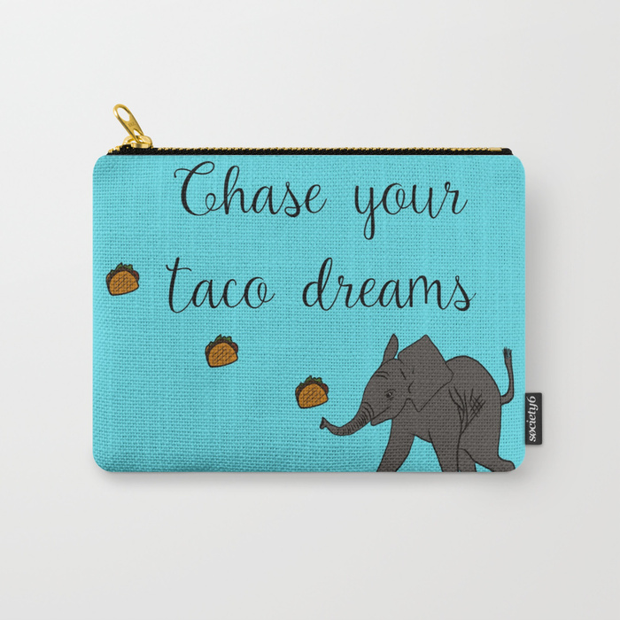 Baby Elephant Chase Your Taco Dreams Carry All Bag by Mel's Doodle Designs