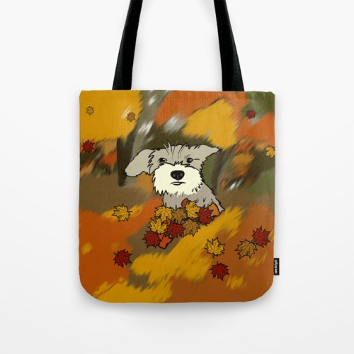 Buck The Schnauzer In Fall Leaves Tote Bag