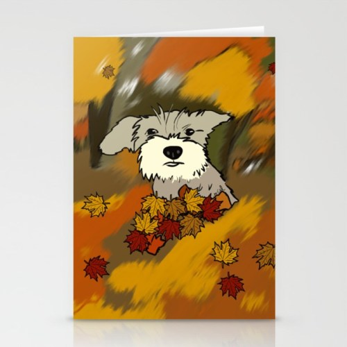 Buck The Schnauzer In Fall Leaves Greeting Cards